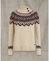 Belstaff Fairisle Wool Funnel Neck - Natural