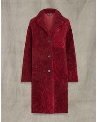 Belstaff Ruby Shearling Coat - Red