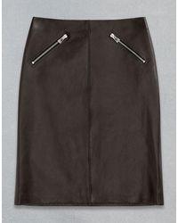 Belstaff Rider Leather Skirt - Black
