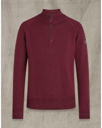 Belstaff Alfie Quarter Zip Sweater - Red