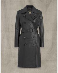 Belstaff Greta Leather Trench Coat - Black