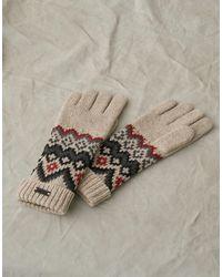 Belstaff Fairisle Wool Gloves - Natural