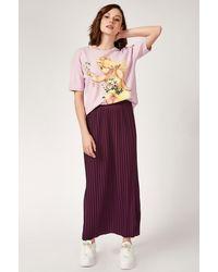Bemushop Elastic Waist Pleated Skirt - Purple