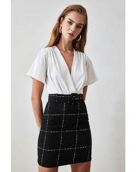 Bemushop Women's Belted Black Skirt - Multicolour