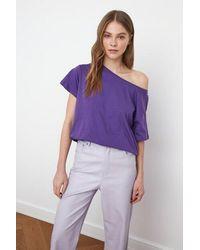 Bemushop Off Shoulders Purple Cotton T-shirt