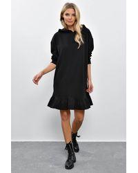 Bemushop Hooded Ruffle Black Short Dress