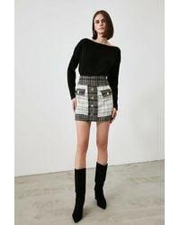 Bemushop Button Detail Multi-color Skirt - Black