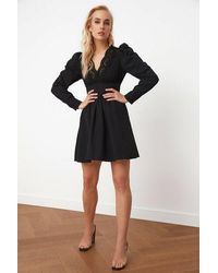 Bemushop Collar Detail Black Poplin Dress