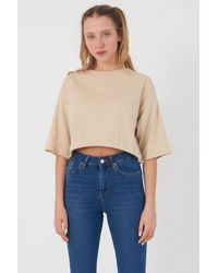 Bemushop Basic Beige Crop T-shirt - Natural