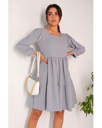 Bemushop Square Neck Ruffle Grey Aerobin Dress