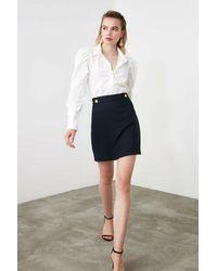 Bemushop Plain Navy Blue Short Skirt