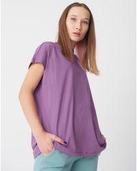 Bemushop Short Sleeve Basic T-shirt - Purple