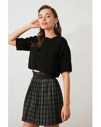 Bemushop Pleated Plaid Anthracite Short Skirt - Black