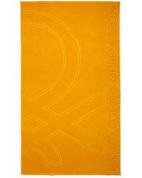 Benetton Drap De Plage Logo Jacquard - Jaune