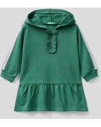 Benetton Vestido De Felpa Con Detalles De Lúrex - Verde