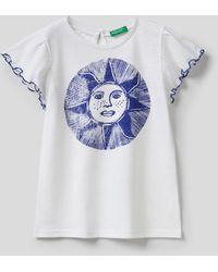 Benetton - Camiseta Con Volantes En Las Mangas - Lyst