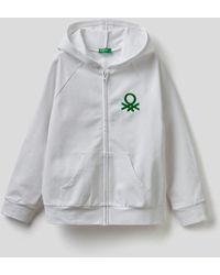 Benetton Sudadera Con Capucha Y Logotipo Bordado - Blanco