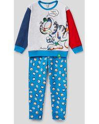 Benetton Pijama Color Block Con Estampado De Garfield - Gris