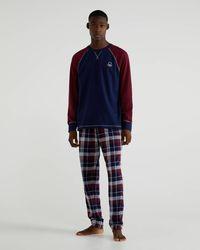 Benetton Pigiama Con Pantaloni A Quadri - Blu