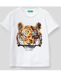 Benetton Camiseta Con Lentejuelas - Blanco