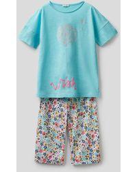 Benetton Pijama Estampado Con Pantalón Cropped - Azul