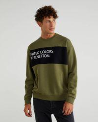 Benetton - Felpa Con Inserto E Logo - Lyst