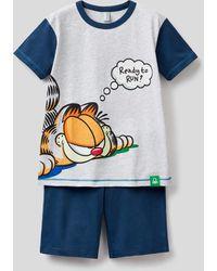 Benetton Pijama Corto Con Estampado De Garfield - Gris