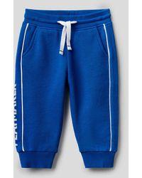 Benetton Pantalón De Felpa De 100 % Algodón Con Estampado - Azul