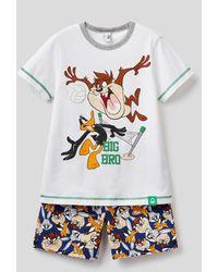 Benetton Pijama Corto Con Estampado Looney Tunes - Blanco