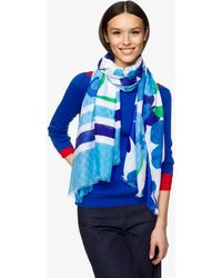 Benetton Sciarpa Fluida All Over - Blu