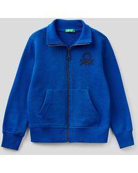 Benetton Sudadera Con Cremallera Y Logotipo Bordado - Azul