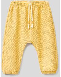 Benetton Pantalón De Algodón Orgánico Elástico Labrado - Amarillo