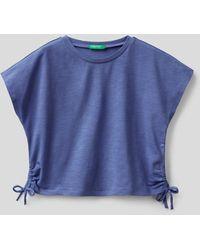 Benetton - Camiseta De Algodón Elástico Con Lacitos - Lyst