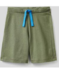 Benetton Bermudas De 100 % Algodón - Verde