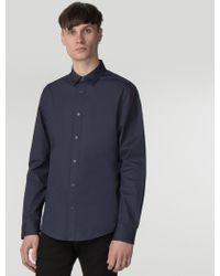 Ben Sherman Navy Long Sleeve Stretch Poplin Shirt - Blue