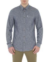 Ben Sherman Navy Long Sleeve Chambray Texture Shirt - Blue
