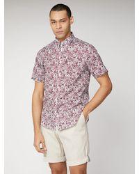 Ben Sherman Short Sleeve Floral Print Shirt - Red