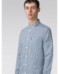 Ben Sherman - Long Sleeve Blue Mini House Gingham Shirt - Lyst