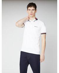 Ben Sherman Stripe Collar Pique Polo - White