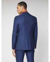 Ben Sherman Blue Orange Check Slim Suit Jacket