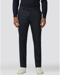 Ben Sherman Deep Blue Textured Check Stretch Camden Fit Trouser