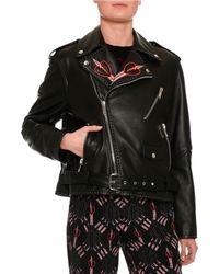 Valentino Love Blade Embroidered Leather Moto Jacket - Black