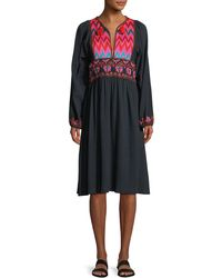 Figue - Violeta Split-neck Long-sleeve Cotton Dress With Embroidery - Lyst
