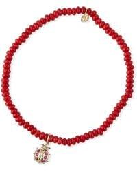 Sydney Evan - 14k Small Ruby Ladybug & Red Coral Bracelet - Lyst