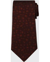 Kiton Men's Tonal Mini-floral Silk Tie - Red
