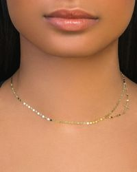 Lana Jewelry 14k Double-strand Side Cross Necklace - Metallic