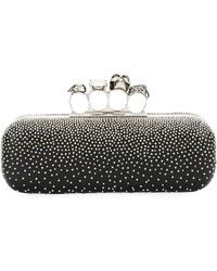 Alexander McQueen Four-ring Knuckle Studded Napa Box Clutch Bag