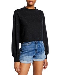 Beach Riot Ava Embellished Cropped Sweatshirt - Black