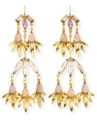 Sequin - Tiered Pink Crystal Statement Earrings - Lyst