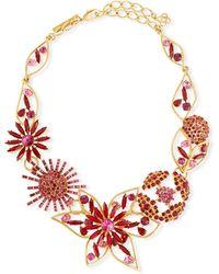 Oscar de la Renta - Jeweled Flower Necklace - Lyst